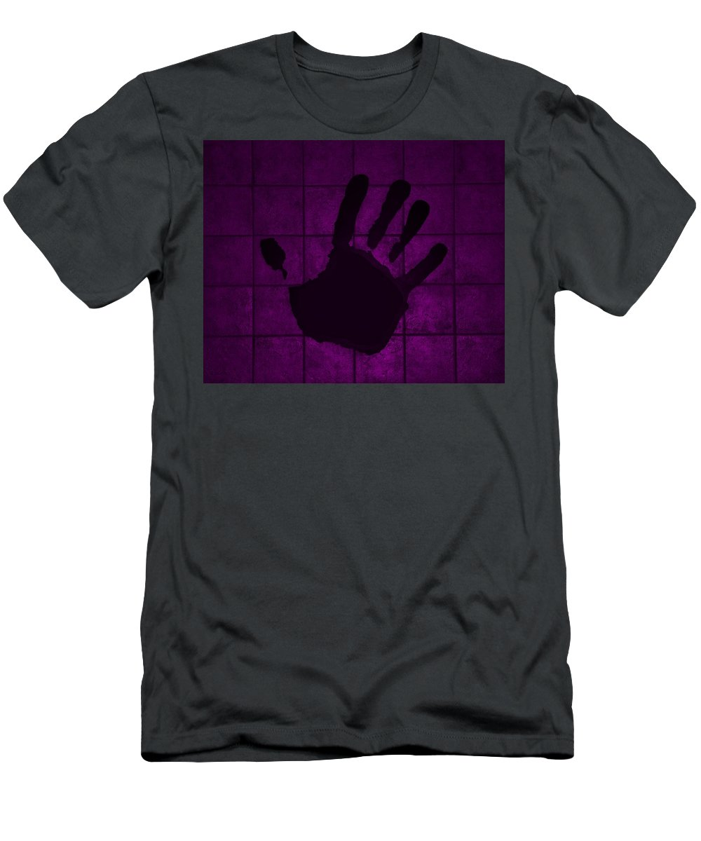 Hand Men's T-Shirt (Athletic Fit) featuring the photograph Black Hand Purple by Rob Hans