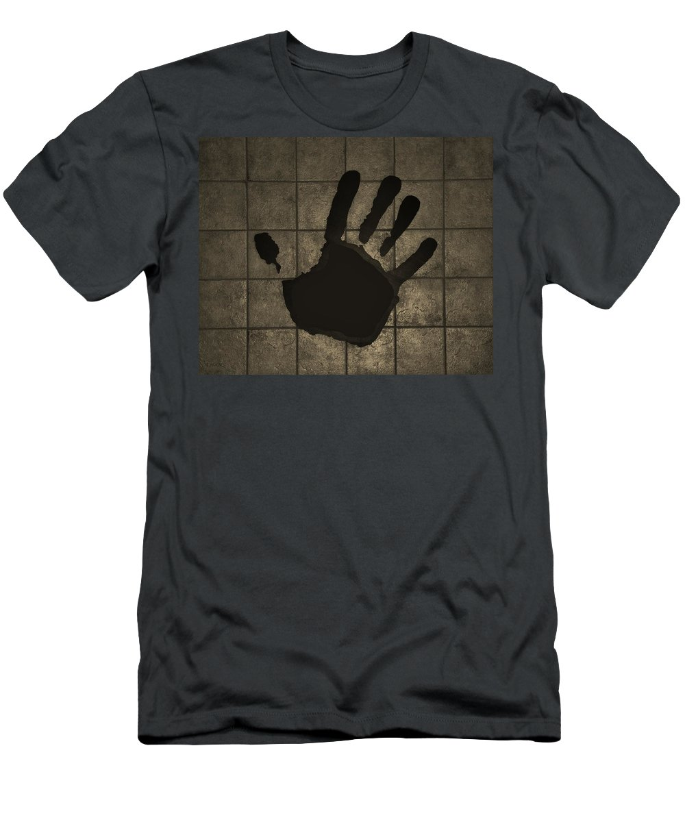 Hand Men's T-Shirt (Athletic Fit) featuring the photograph Black Hand Sepia by Rob Hans