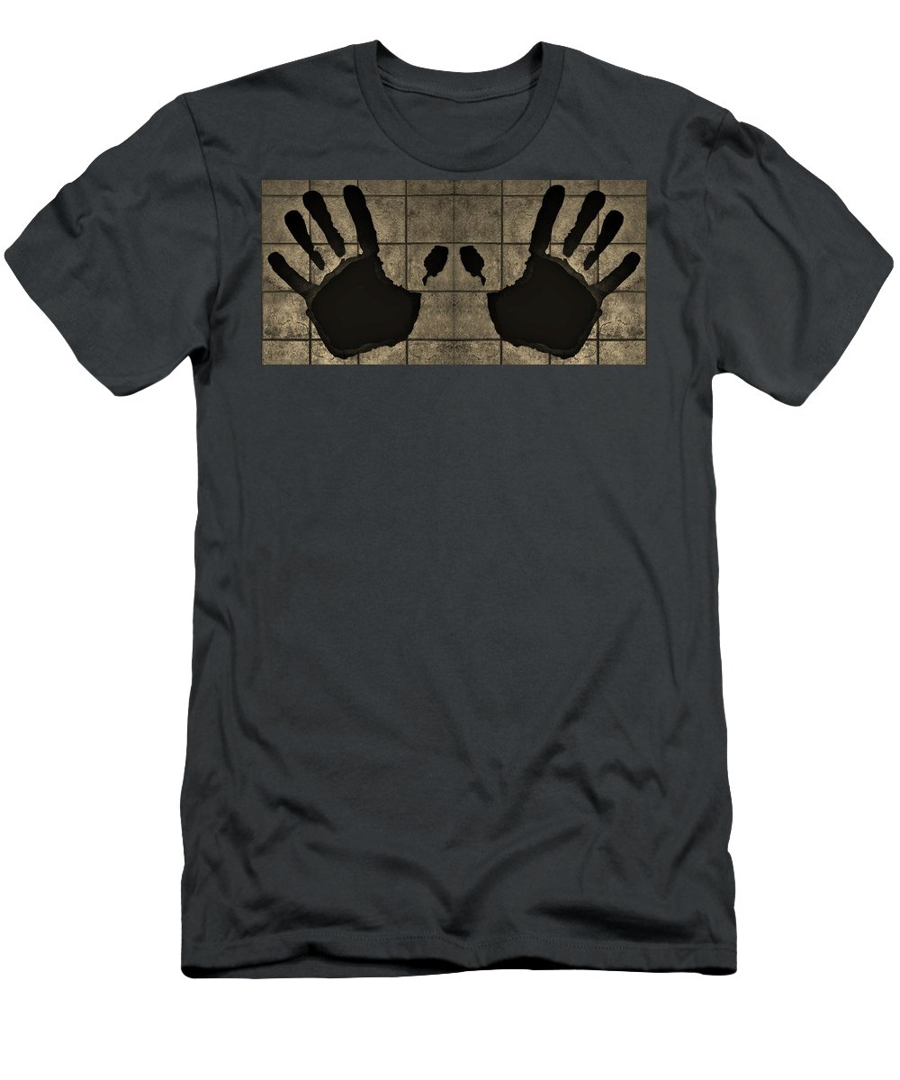Hand Men's T-Shirt (Athletic Fit) featuring the photograph Black Hands Sepia by Rob Hans