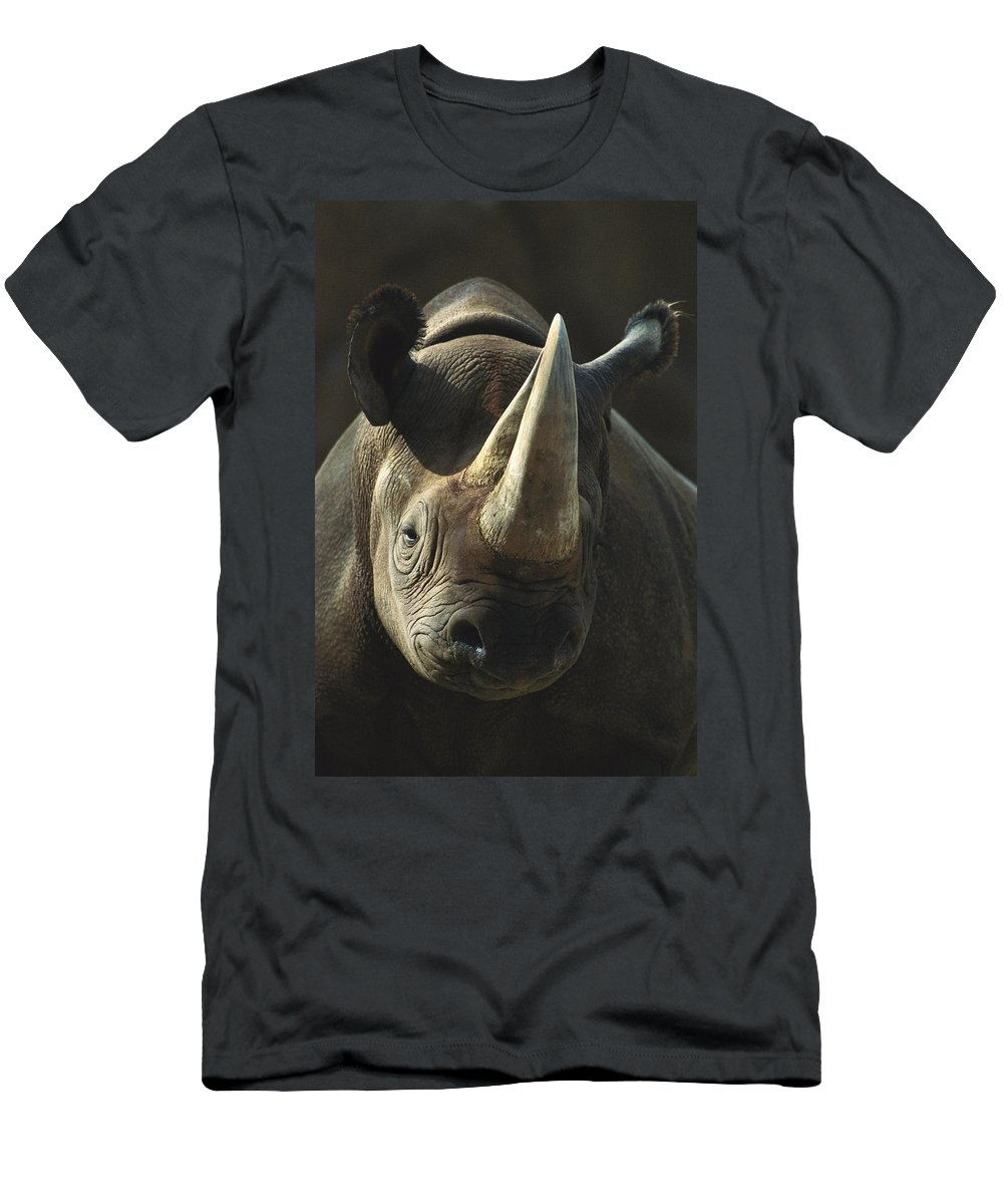Feb0514 Men's T-Shirt (Athletic Fit) featuring the photograph Black Rhinoceros Portrait by San Diego Zoo