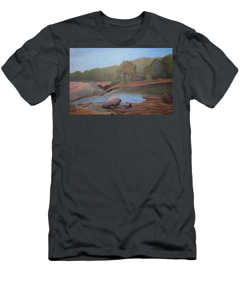 Rick Huotari Men's T-Shirt (Athletic Fit) featuring the painting Black River Falls by Rick Huotari
