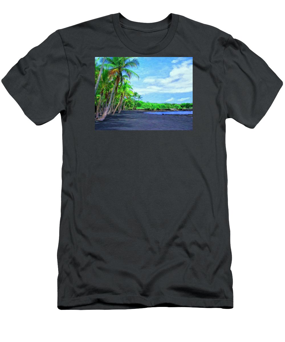 Black Sand Beach Men's T-Shirt (Athletic Fit) featuring the painting Black Sand Beach At Punaluu by Dominic Piperata