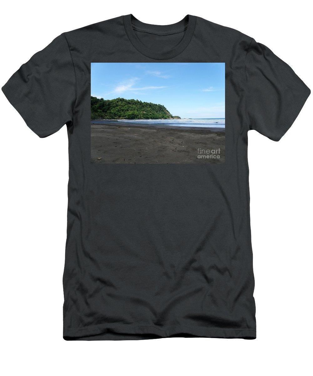 Costa Rica Men's T-Shirt (Athletic Fit) featuring the photograph Black Sand Beach In Costa Rica by DejaVu Designs