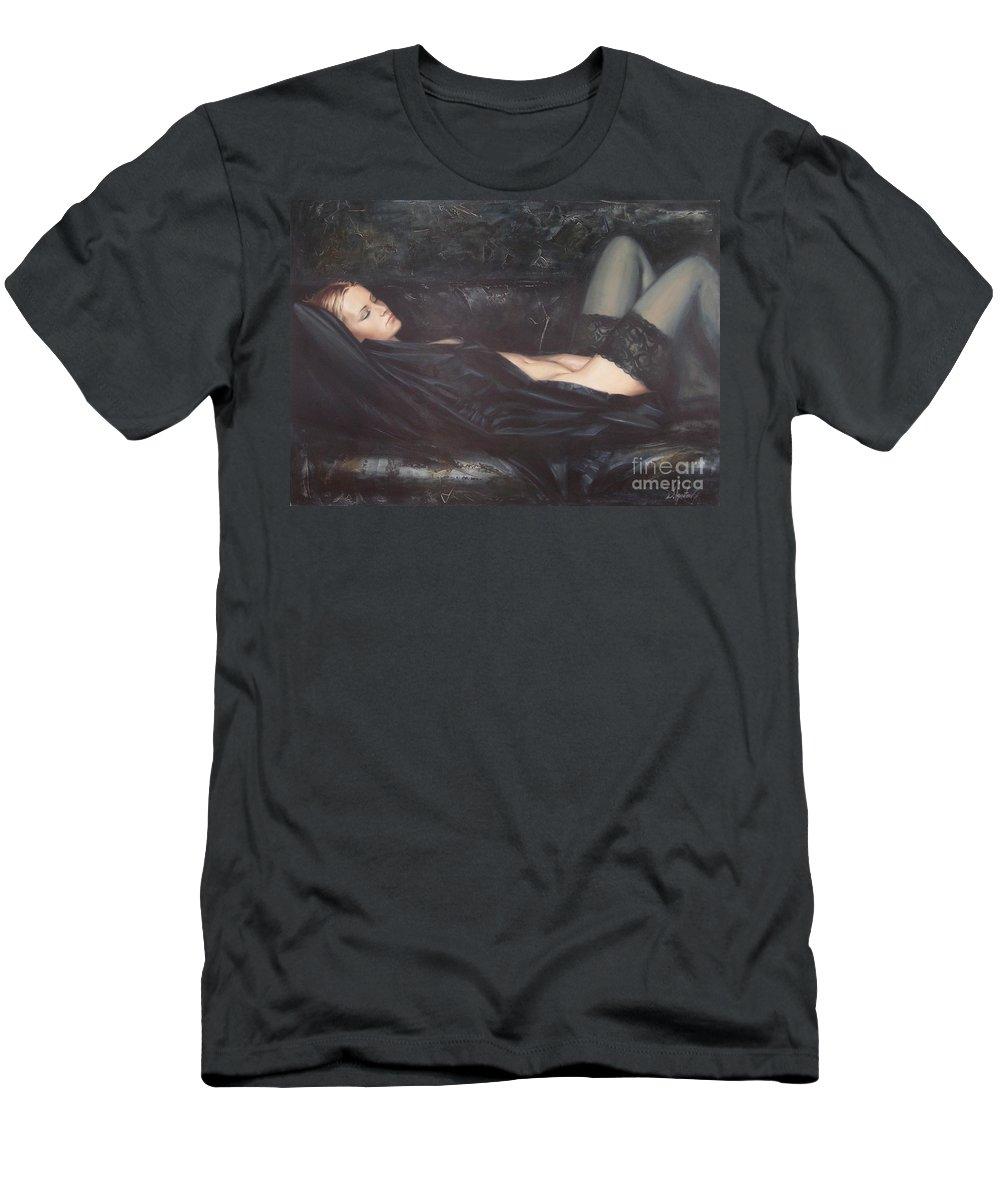 Ignatenko T-Shirt featuring the painting Black Silk by Sergey Ignatenko