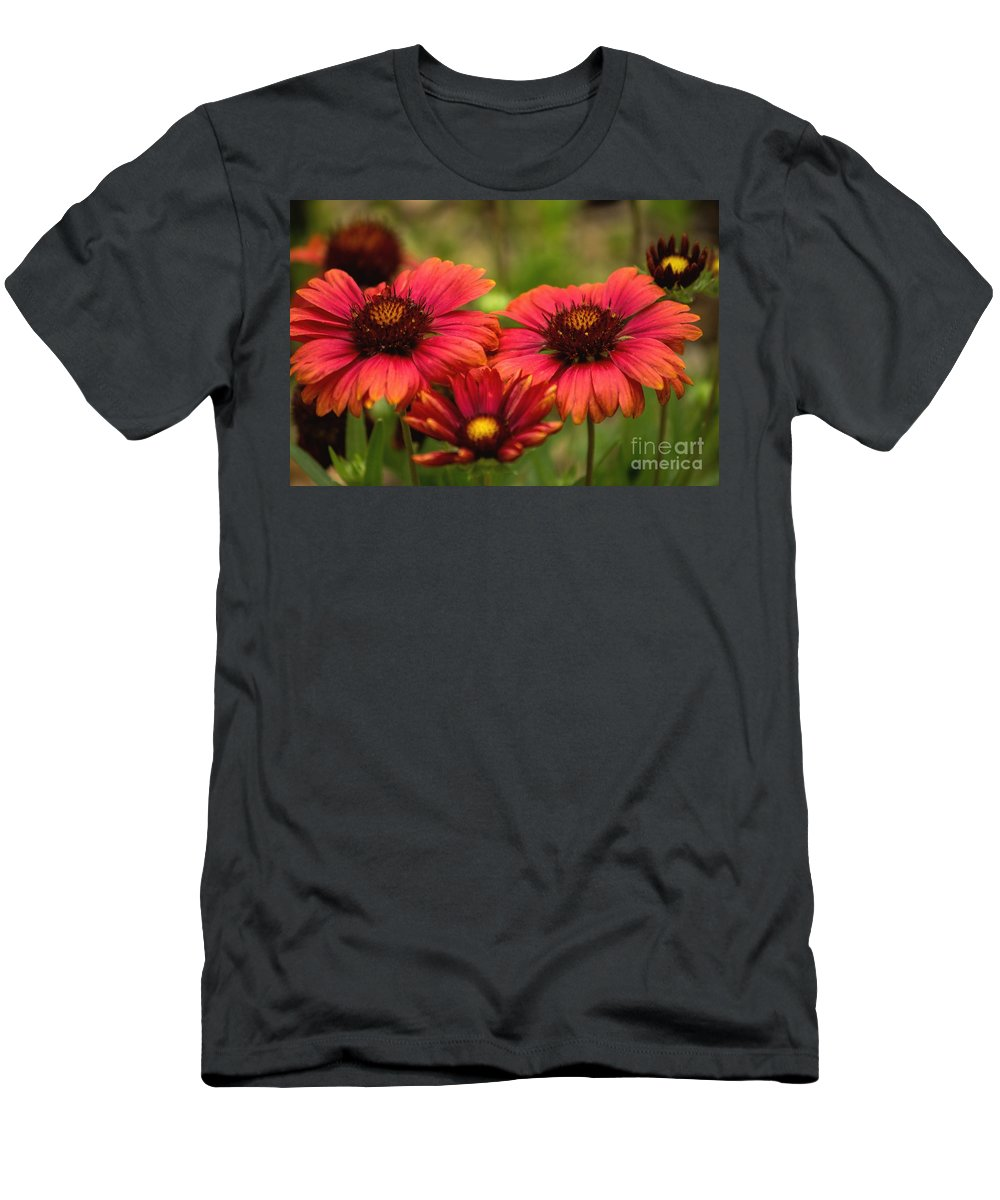Gaillardia Men's T-Shirt (Athletic Fit) featuring the photograph Blanket Flowers by Peggy Hughes