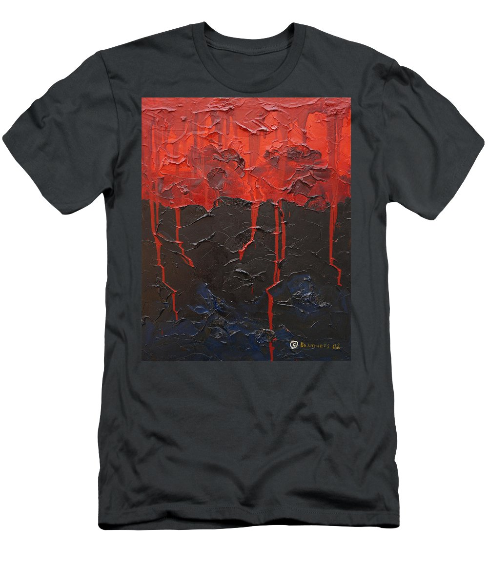 Fantasy Men's T-Shirt (Athletic Fit) featuring the painting Bleeding Sky by Sergey Bezhinets
