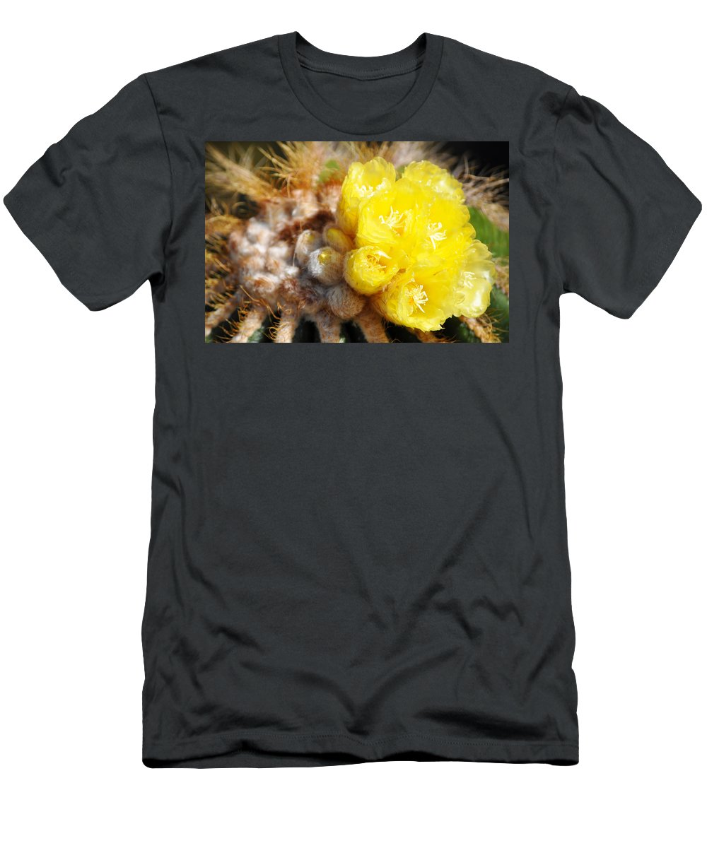 Blooming Barrel Cactus Men's T-Shirt (Athletic Fit) featuring the photograph Blooming Barrel Cactus by Kyle Hanson