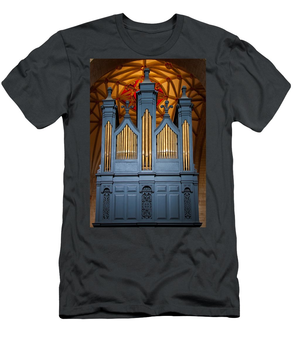 Pipe Organ Men's T-Shirt (Athletic Fit) featuring the photograph Blue And Gold Music by Jenny Setchell