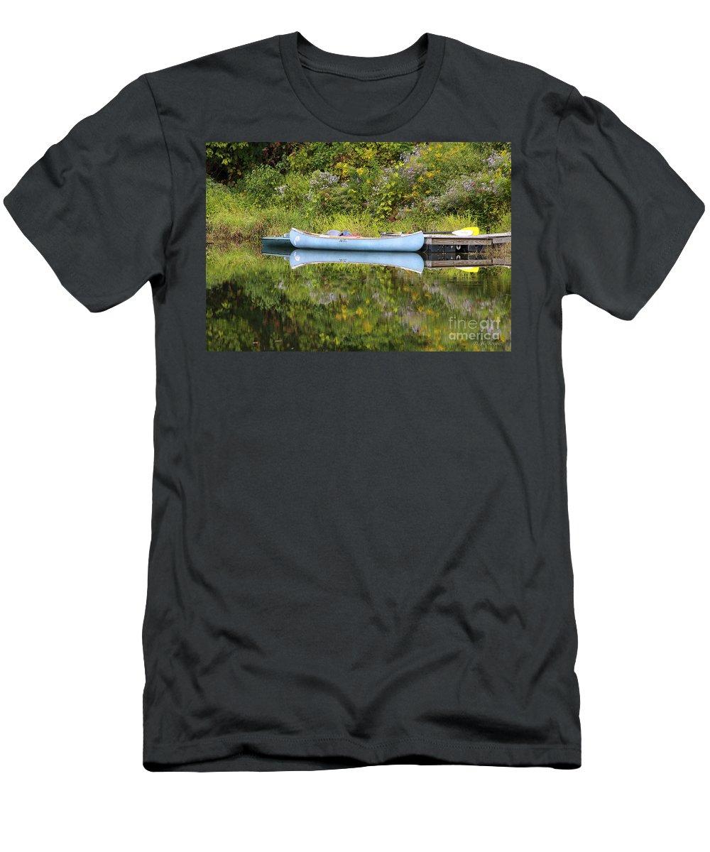 Pond Men's T-Shirt (Athletic Fit) featuring the photograph Blue Canoe by Deborah Benoit