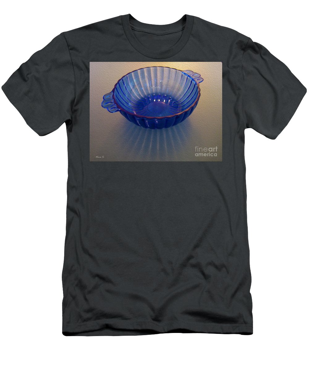 Blue Men's T-Shirt (Athletic Fit) featuring the photograph Blue Glass Bowl by Nina Silver