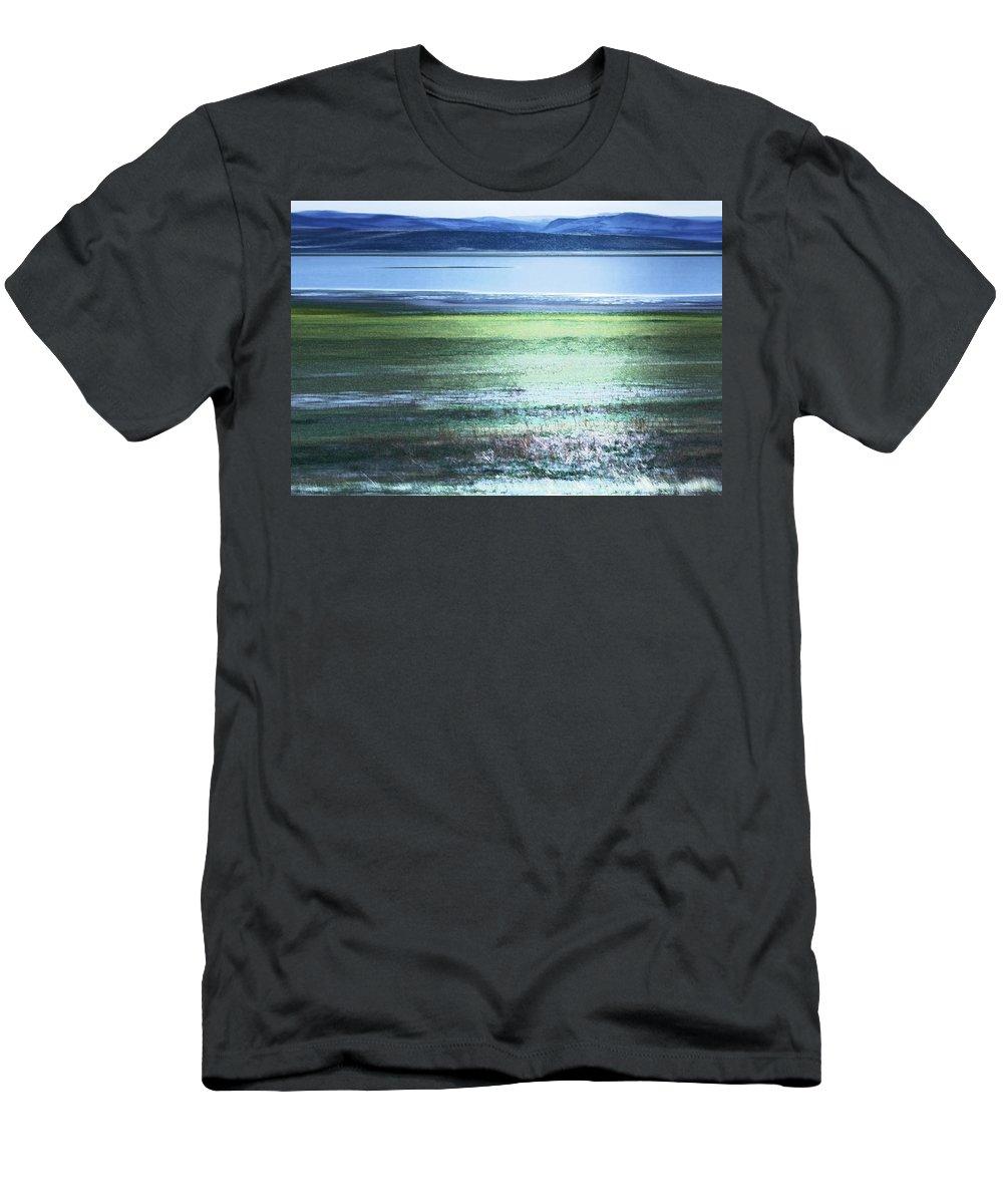 Landscape Men's T-Shirt (Athletic Fit) featuring the photograph Blue Green Landscape by Belinda Greb