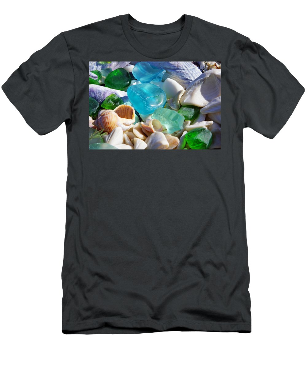 Decorative T-Shirt featuring the photograph Blue Green SEAGLASS Shells Coastal Beach by Patti Baslee