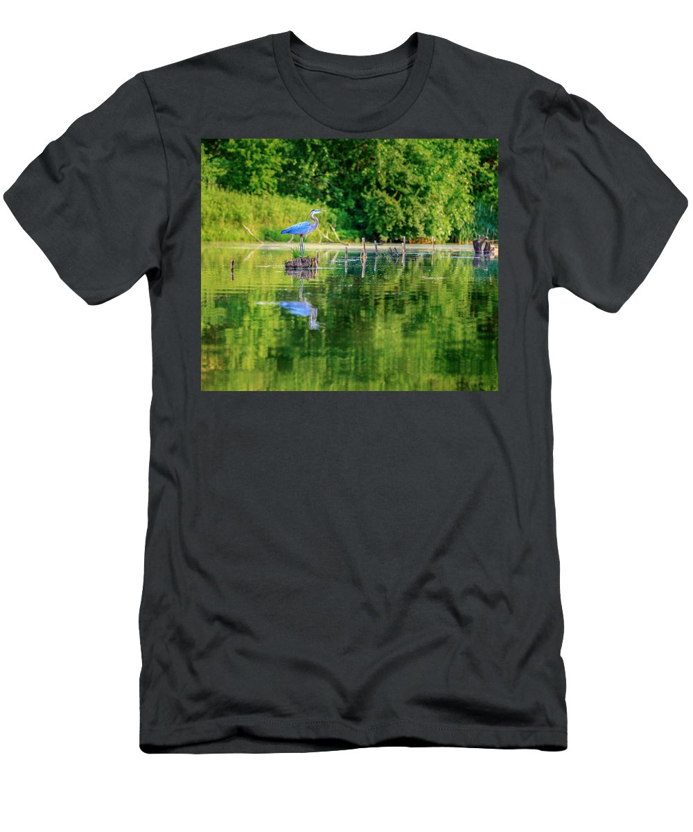Heron Men's T-Shirt (Athletic Fit) featuring the photograph Blue Heron by Alexey Stiop