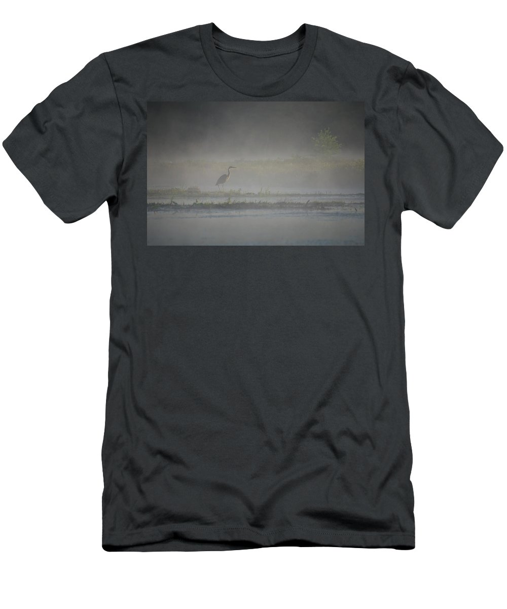 Bird Men's T-Shirt (Athletic Fit) featuring the photograph Blue Heron At Dawn by Donna Doherty