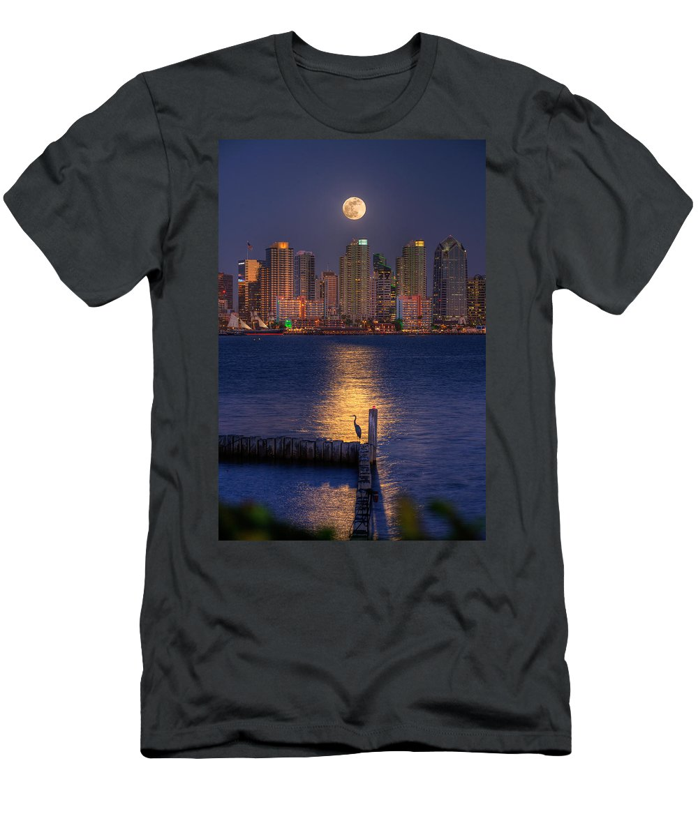 Moonlight Men's T-Shirt (Athletic Fit) featuring the photograph Blue Heron Moon by Peter Tellone