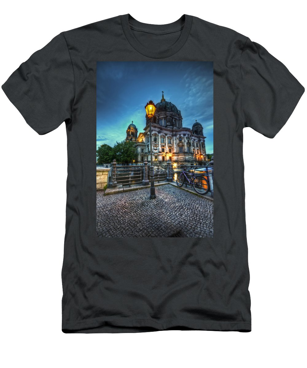 Berlin Men's T-Shirt (Athletic Fit) featuring the digital art Blue Hour Dom by Nathan Wright