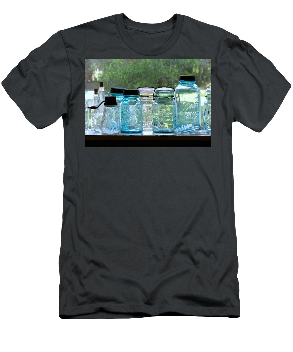 Cross Creek Men's T-Shirt (Athletic Fit) featuring the photograph Blue Jars by Randi Kuhne