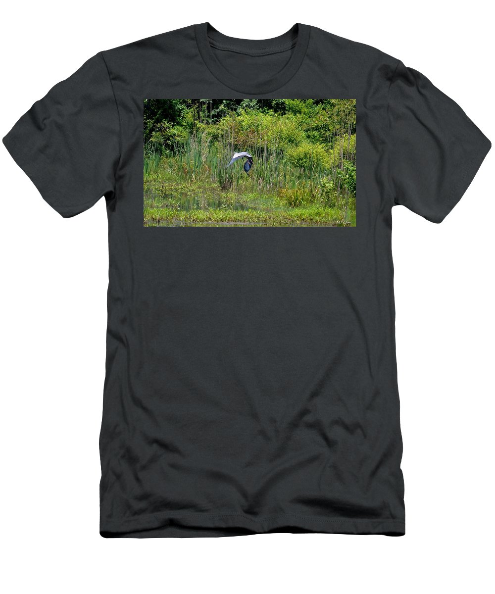 Blue Winged Heron Men's T-Shirt (Athletic Fit) featuring the photograph Blue Winged Heron 2013 by Maria Urso