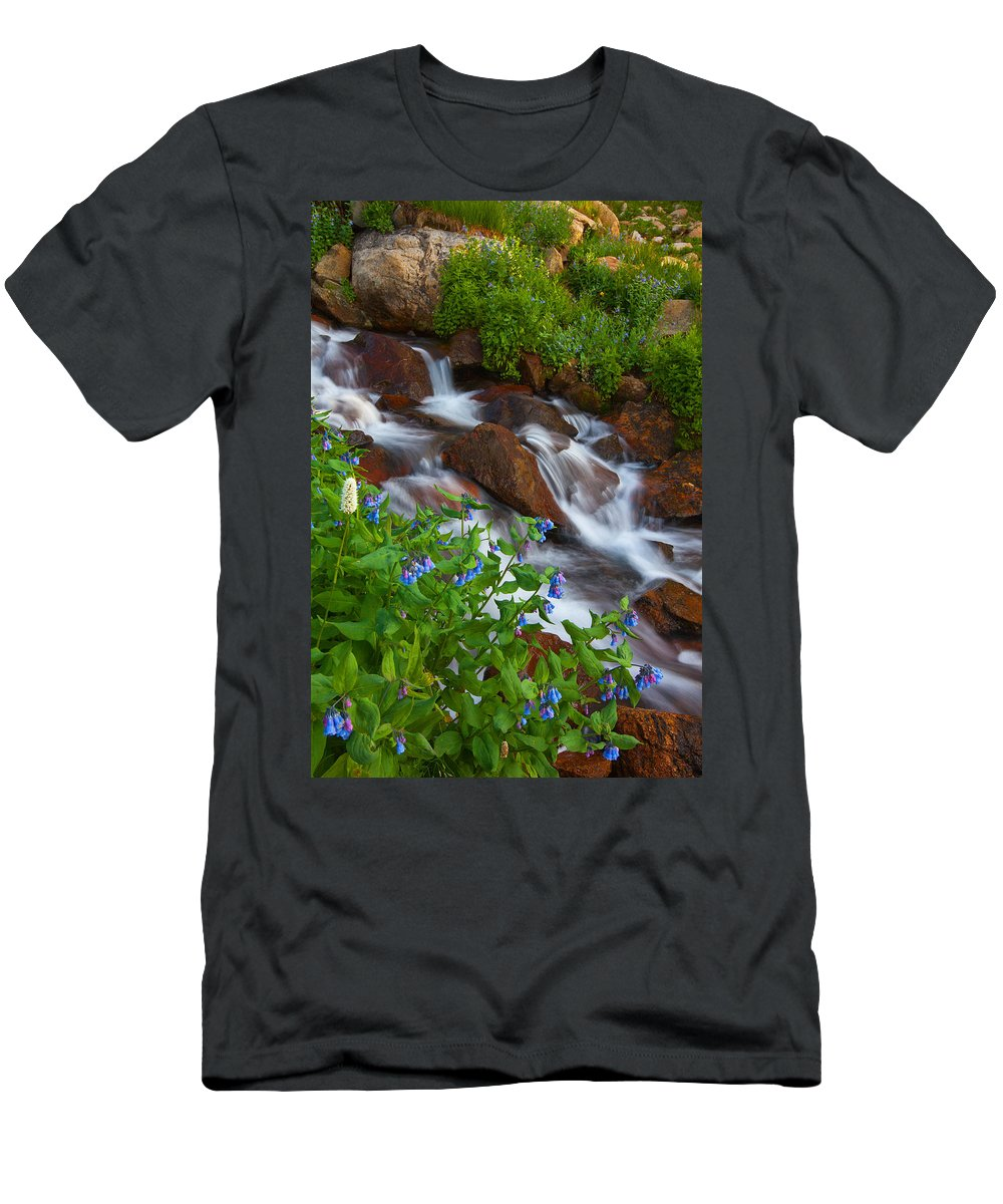 Stream Men's T-Shirt (Athletic Fit) featuring the photograph Bluebell Creek by Darren White