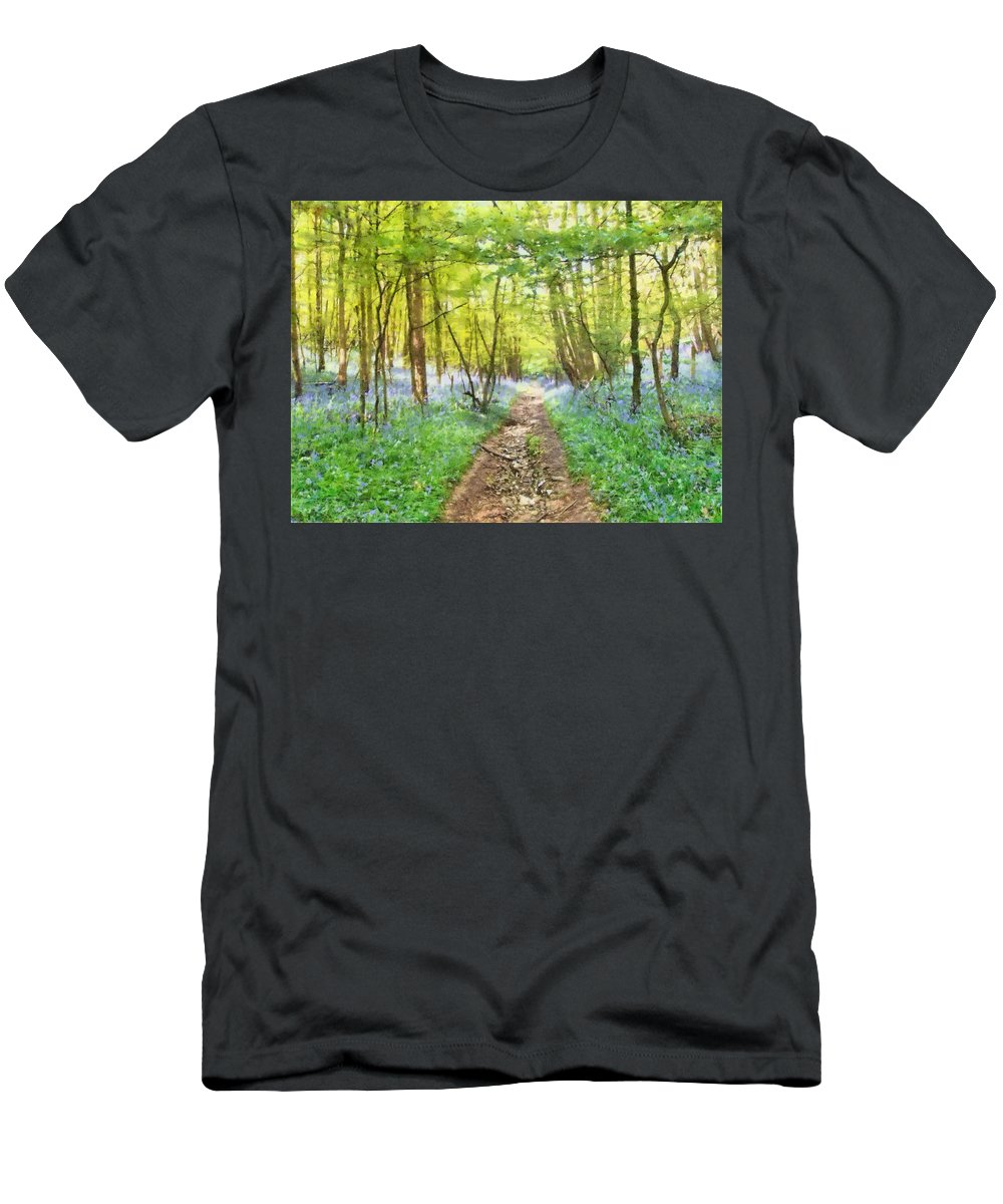 Bluebell Men's T-Shirt (Athletic Fit) featuring the mixed media Bluebell Wood Watercolour by Roy Pedersen
