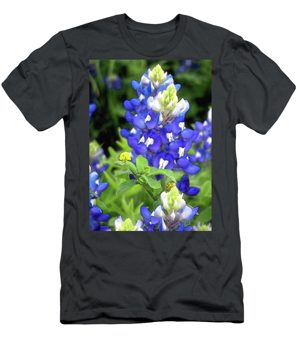 Bluebonnet Men's T-Shirt (Athletic Fit) featuring the photograph Bluebonnets Blooming by Stephen Anderson