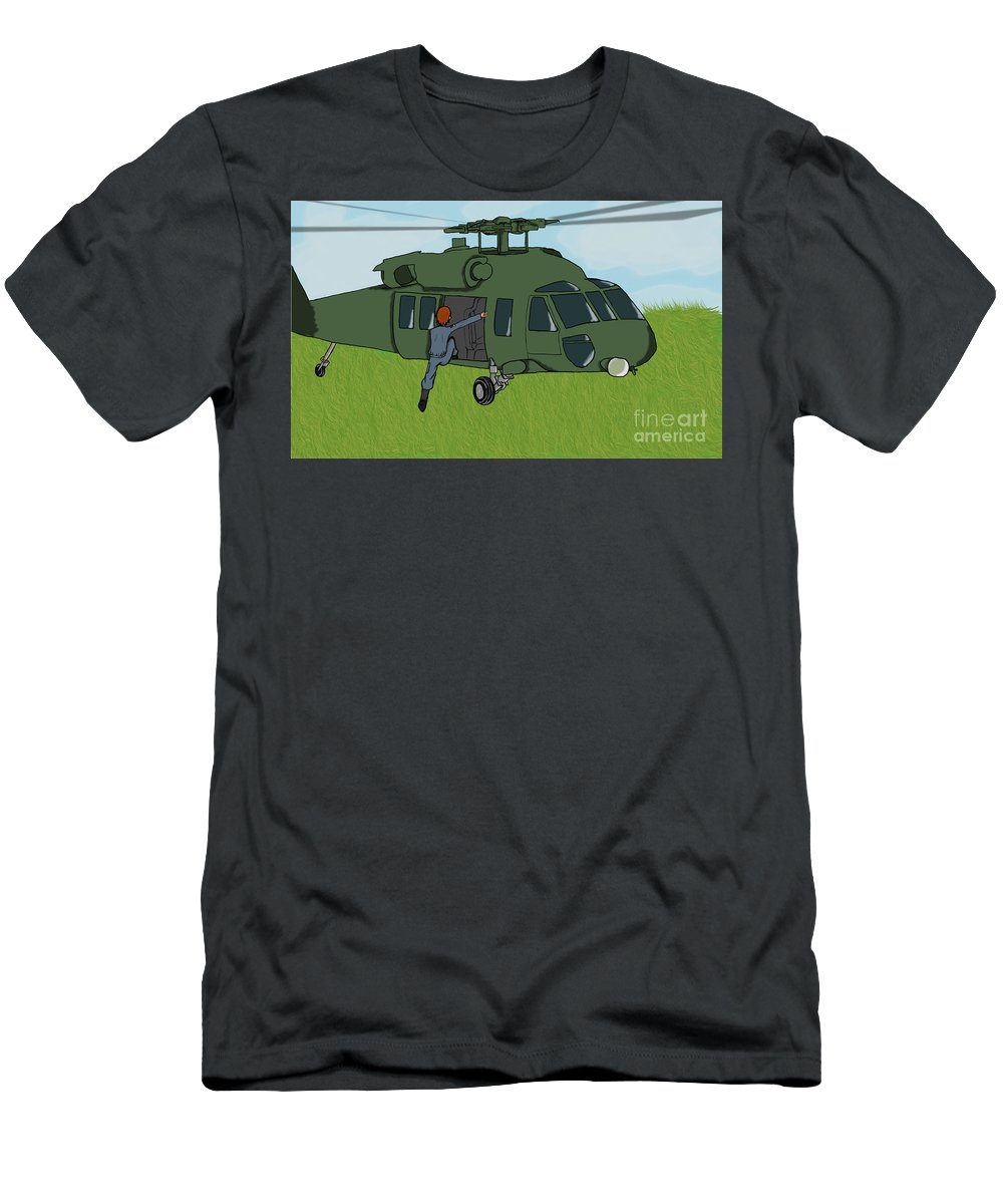 Helicopter Men's T-Shirt (Athletic Fit) featuring the digital art Boarding A Helicopter by Yael Rosen