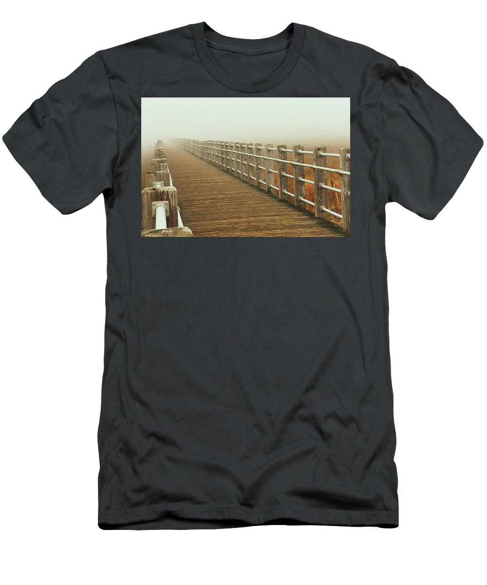 Boardwalk Men's T-Shirt (Athletic Fit) featuring the photograph Boardwalk To The Unknown by Karol Livote