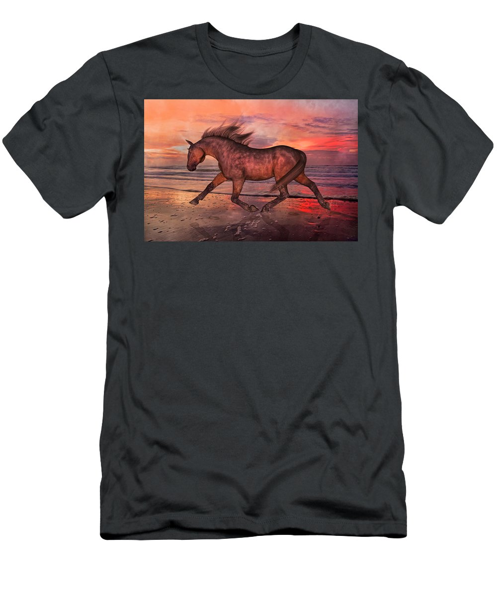 Beach Men's T-Shirt (Athletic Fit) featuring the mixed media Boasting Beautiful by Betsy Knapp