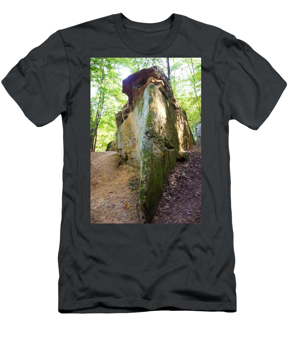 Rocky Cliff Wildcat Den Muscatine Ia Men's T-Shirt (Athletic Fit) featuring the photograph Boat-shaped Rock Wildcat Den State Park by Cynthia Woods