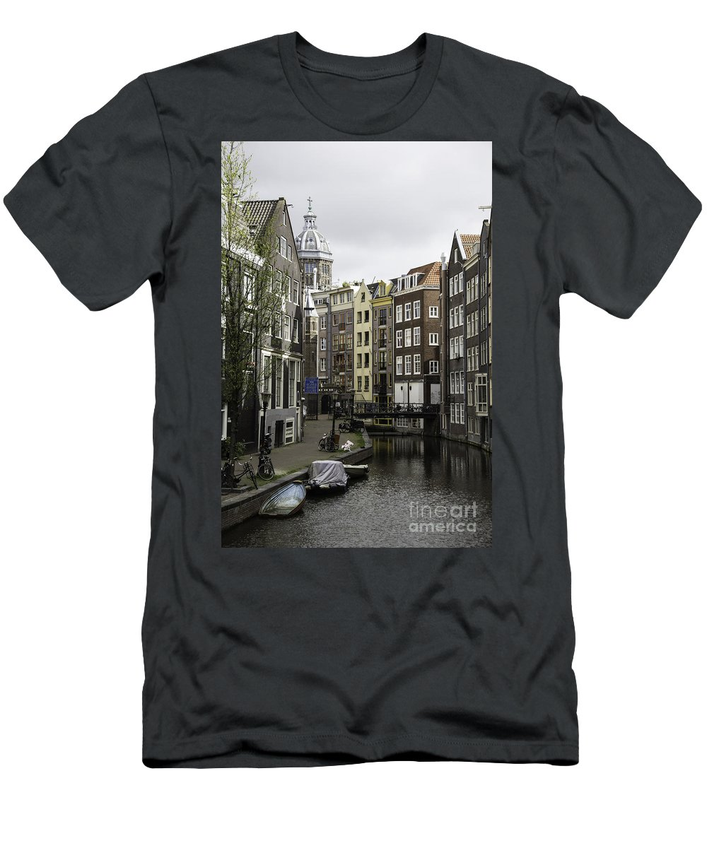 2014 Men's T-Shirt (Athletic Fit) featuring the photograph Boats In Canal Amsterdam by Teresa Mucha