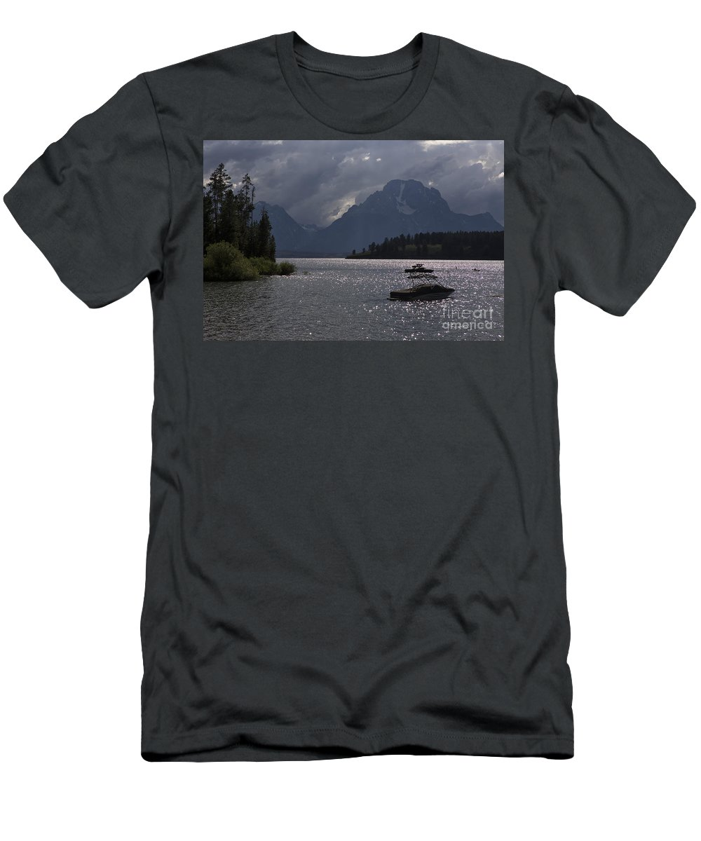 Lake Men's T-Shirt (Athletic Fit) featuring the photograph Boats On Jackson Lake - Grand Tetons by Belinda Greb