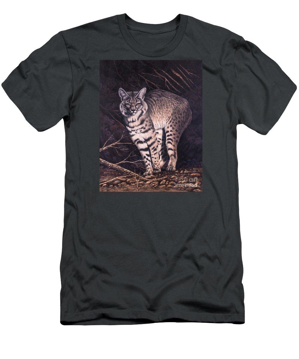 Bobcat Men's T-Shirt (Athletic Fit) featuring the painting Bobcat by Ricardo Chavez-Mendez