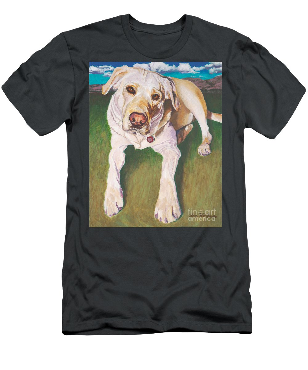 Pure Bred Labrador Retriever Men's T-Shirt (Athletic Fit) featuring the painting Bodie Living Large by Lisa Hershman