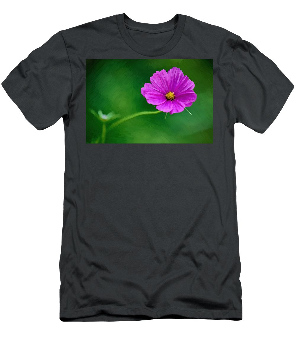 Flower Men's T-Shirt (Athletic Fit) featuring the painting Bohemian Garden Magenta by John Haldane