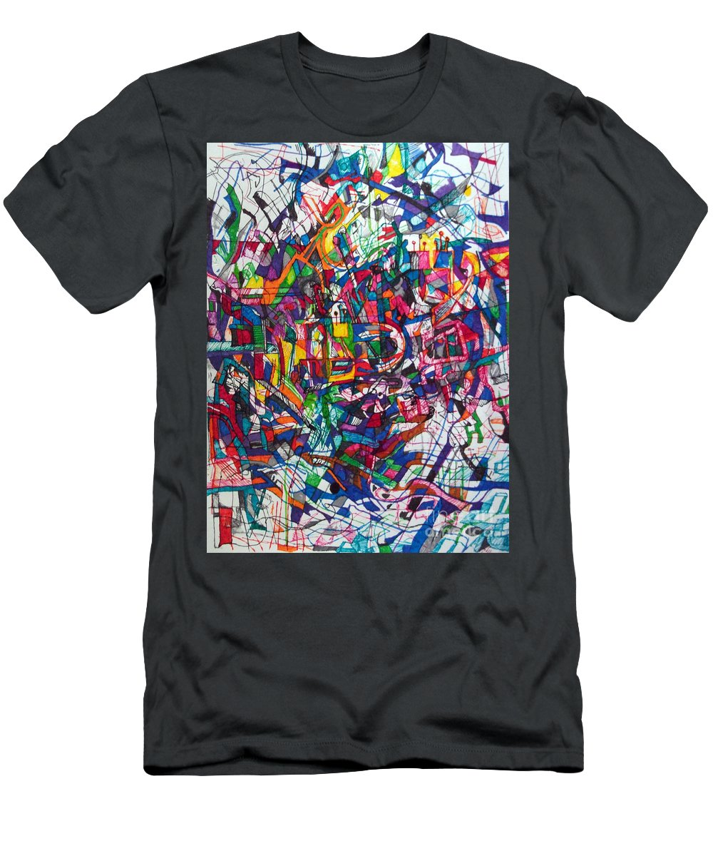 Torah Men's T-Shirt (Athletic Fit) featuring the drawing Bold As A Leopard by David Baruch Wolk