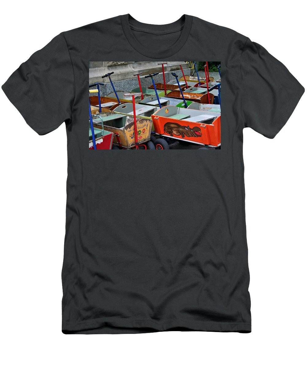 Red Flyer Men's T-Shirt (Athletic Fit) featuring the photograph Bollerwagons by Emma Motte