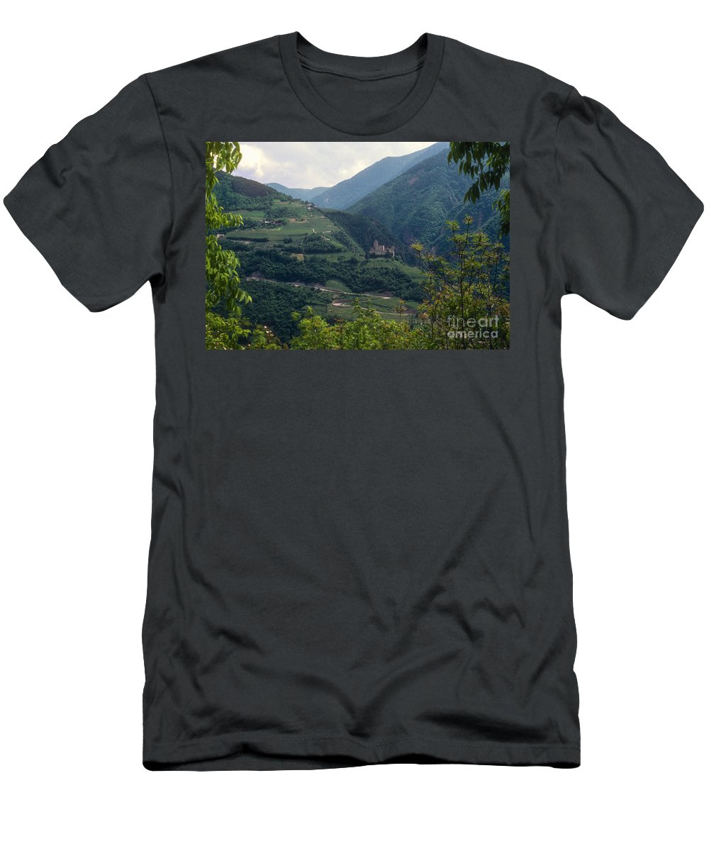 Bolzano Castle Mountain Mountains Hillside Hillsides Structure Structures Buildings Buildings Tree Trees Landscape Landscapes Italy Men's T-Shirt (Athletic Fit) featuring the photograph Bolzano Castle by Bob Phillips