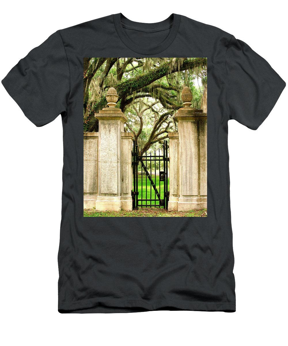 Savannah Men's T-Shirt (Athletic Fit) featuring the photograph Bonaventure Cemetery Gate Savannah Ga by William Dey