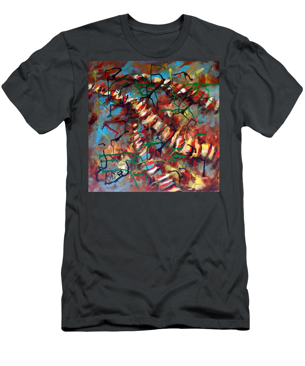 Abstract Men's T-Shirt (Athletic Fit) featuring the painting Bones And Combs by Art by Kar