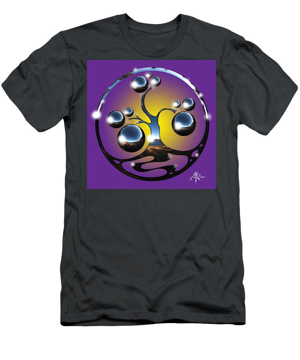 Tree T-Shirt featuring the digital art Bonsai Chrome Logo by Robert Fenwick May Jr