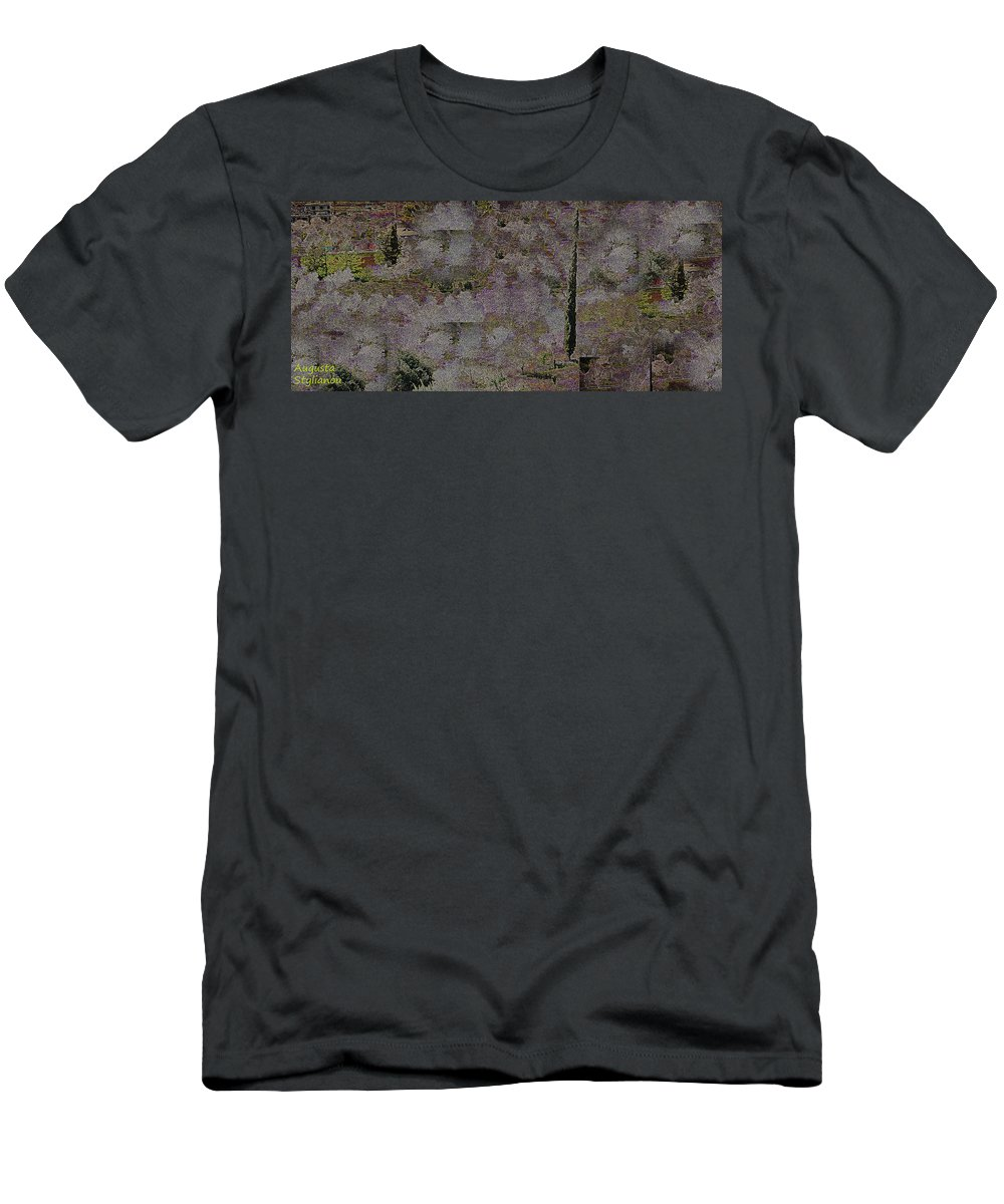 Augusta Stylianou Men's T-Shirt (Athletic Fit) featuring the digital art Blooming Almonds At Night by Augusta Stylianou