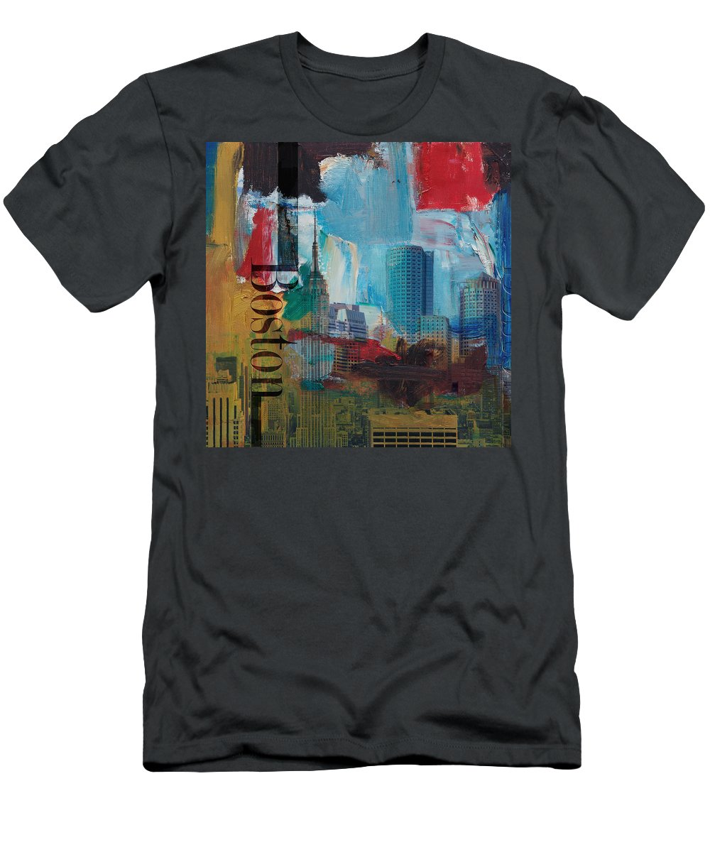 Boston City Men's T-Shirt (Athletic Fit) featuring the painting Boston City Collage 3 by Corporate Art Task Force