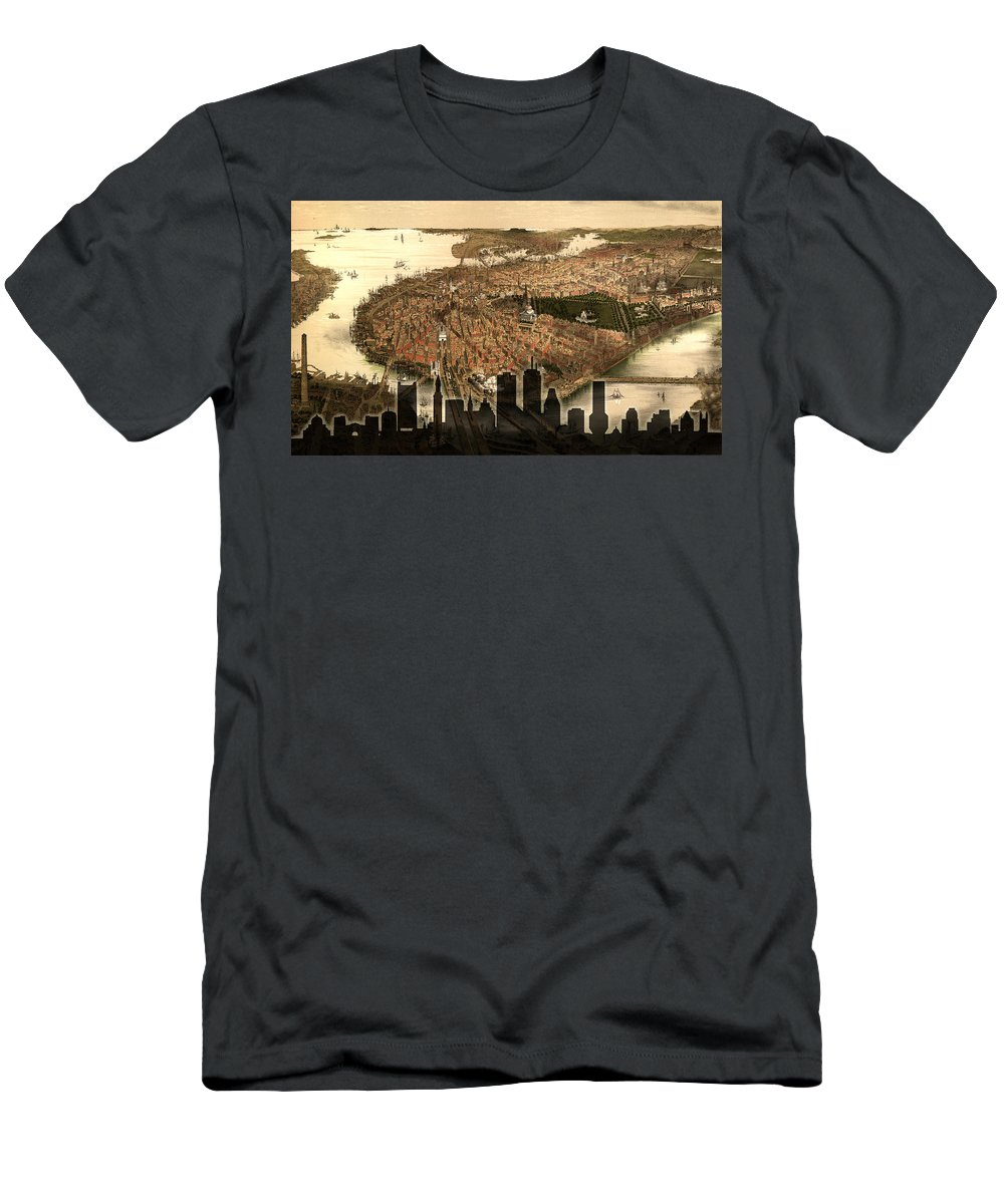 Boston Men's T-Shirt (Athletic Fit) featuring the photograph Boston Old And New by Andrew Fare