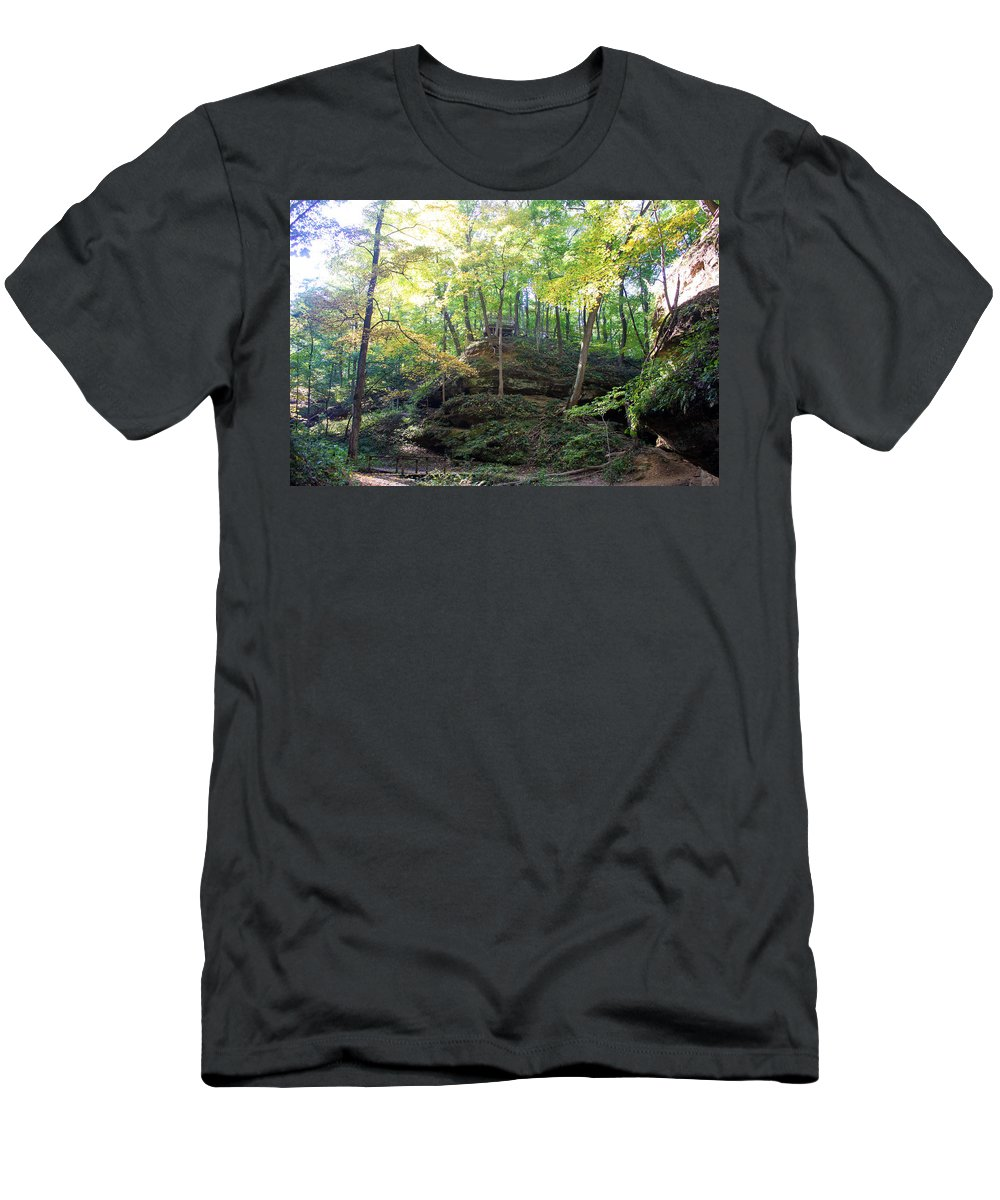 Devil's Punch Bowl Wildcat Den Muscatine Ia Men's T-Shirt (Athletic Fit) featuring the photograph Bottom Of Devil's Punchbowl Wildcat Den by Cynthia Woods