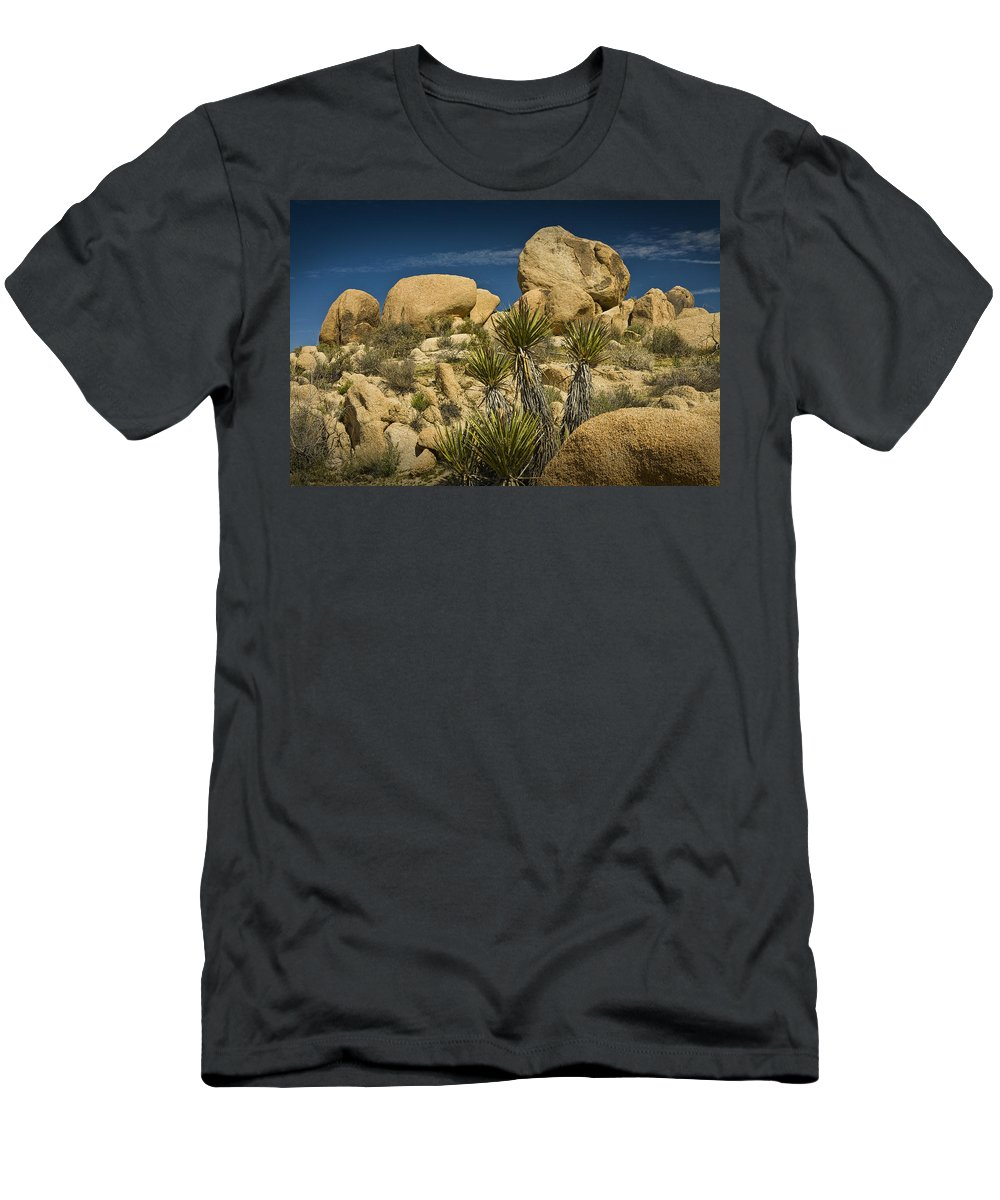Art Men's T-Shirt (Athletic Fit) featuring the photograph Boulders In The Joshua Tree National Park by Randall Nyhof