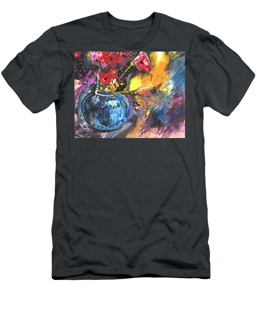 Flowers Men's T-Shirt (Athletic Fit) featuring the painting Bouquet With Black Tulip by Miki De Goodaboom