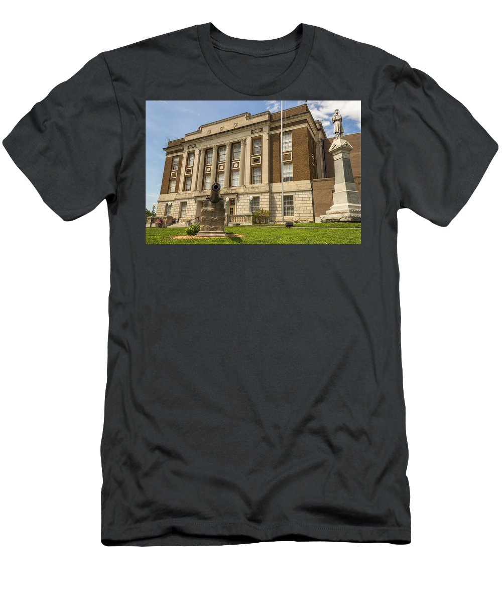 Court Men's T-Shirt (Athletic Fit) featuring the photograph Bourbon County Courthouse 4 by Ken Kobe
