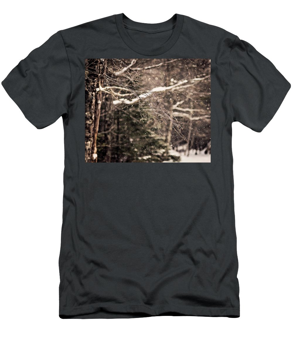 Nobody Men's T-Shirt (Athletic Fit) featuring the photograph Branch In Forest In Winter by Chris Bennett