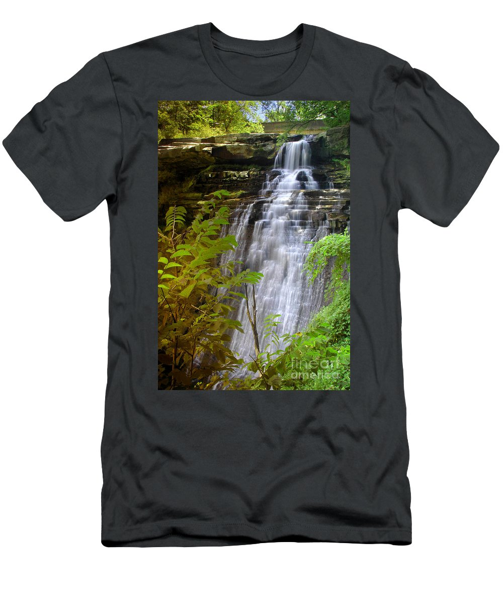 Waterfall Men's T-Shirt (Athletic Fit) featuring the photograph Brandywine Falls Of Cuyahoga Valley National Park Waterfall Water Fall by Jon Holiday