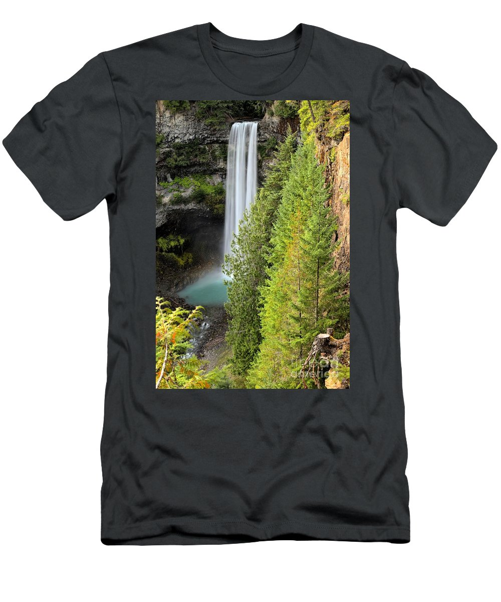 Brandywine Falls Men's T-Shirt (Athletic Fit) featuring the photograph Brandywine Through The Trees by Adam Jewell